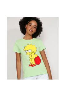 Camiseta Feminina Manga Curta Lisa Simpson Decote Redondo Verde Claro
