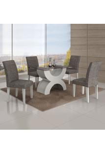 Conjunto Mesa Olimpia New 1,20X0,80M 4 Cadeiras Linho Cinza - 7338.39.1.15 Leifer