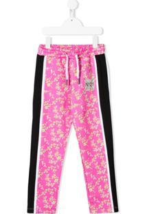 Nº21 Kids Calça Esportiva Com Patch De Logo E Estampa Floral - Rosa