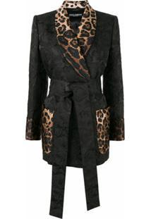 Dolce & Gabbana Jaqueta Com Estampa Leopardo E Jacquard Floral - Preto