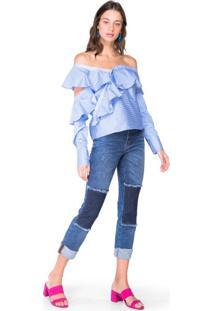 Calça Jeans Com Recortes