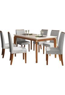 Mesa De Jantar Rouge Com 6 Cadeiras Carvalho Americano/Off White