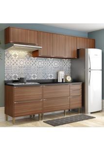 Cozinha Compacta Calábria 8 Portas Com Tampo E Pés Nogueira/Malt - Multimóveis