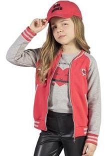 Jaqueta Infantil Bugbee Moletom Feminina - Feminino-Vermelho+Cinza