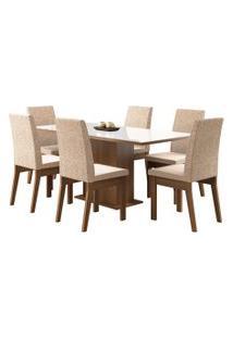 Sala De Jantar Madesa Aurora Mesa Tampo De Vidro Com 6 Cadeiras Branca/Bege