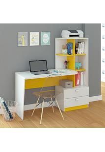 Mesa Para Computador Elisa – Permóbili - Branco / Amarelo