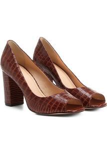 Peep Toe Shoestock Croco - Feminino