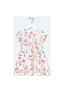 Vestido Infantil Estampa Floral - Tam 1 A 5 Anos | Póim (1 A 5 Anos) | Branco | 02
