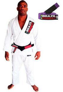 Kimono Jiu Jitsu Brazil Combat Starter Com Faixa Roxa - Unissex