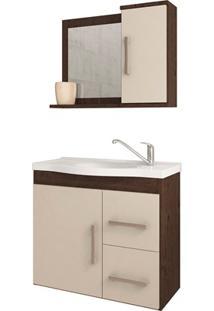 Gabinete Suspenso Para Banheiro Vix 56,5X63,5Cm Café E Off White