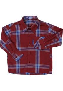 Camisa Manga Longa Infantil Rodeo Western Xadrez Masculina - Masculino-Vermelho
