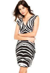 Vestido Lança Perfume Curto Estampado Com Termocolante Branco/Preto