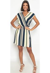 Vestido Listrado Com Transpasse- Bege & Azul Marinhovip Reserva