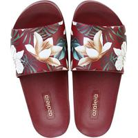 eef96c5e0 Chinelo Azaleia Slide Floral Feminino - Feminino-Vermelho Escuro