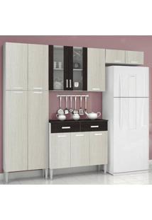 Cozinha Compacta Alfa Kits Paraná Branco/Arena/Cp-Ébano