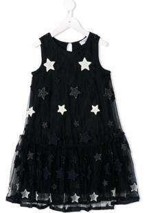 Monnalisa Vestido Com Bordado De Estrela - Azul