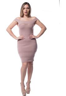 Vestido Tricô Modal Midi Ombro Fora Fresch Rosa 0294