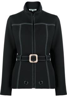 Kenzo Contrast-Stitch Belted Jacket - Preto