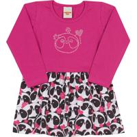 Tricae. Vestido Manga Longa Pimentinha Kids Saia Estampada Rosa ddf26be67bd