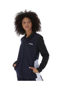 Agasalho Adidas Wts Plain Tricot - Feminino - Azul Esc/Branco