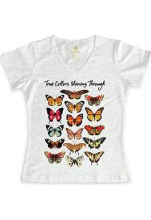Camiseta Feminina Gola V Cool Tees Borboletas True Collors - Feminino