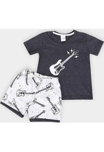 Pijama Infantil Candy Kids Guitarras Masculino - Masculino-Preto