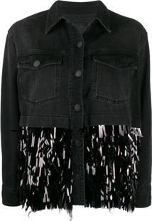 Pinko Jaqueta Jeans Com Aplicação De Paetês Contrastantes - Preto