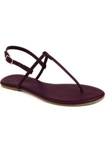 Rasteira Básica Mercedita Shoes Feminina - Feminino-Vinho
