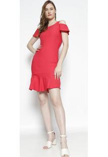 Vestido Mídi Com Ombros Vazados - Coralmoiselle