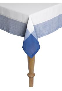 Toalha De Mesa Quadrada Naturalle Chamonix Branco E Azul 1,4Mx1,4M