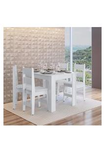 Conjunto Mesa Fixa 4 Cadeiras Mdf Milano Branco Lilies