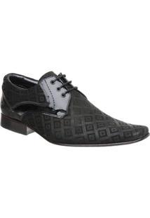 Sapato Malbork Em Couro Verniz E Nobuck Estampado 447 - Masculino