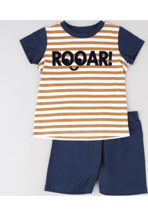 "Pijama Infantil Listrado ""Rooar!"" Manga Curta Off White"