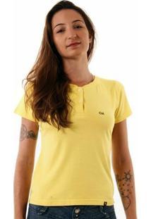 Camiseta Oitavo Ato Henley Feminina - Feminino-Amarelo