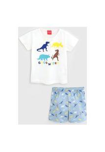 Pijama Tricae Curto Infantil Dinossauro Off-White/Azul