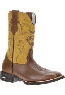 Bota Couro Cow Way Cowboy Masculina - Masculino-Marrom+Amarelo