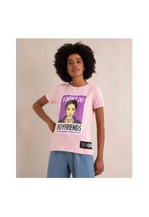 "Camiseta "" I Don'T Do Boyfriends"" Sex Education Manga Curta Decote Redondo Rosa Claro"