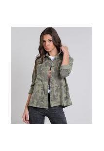Jaqueta Feminina De Sarja Estampada Camuflada Verde Militar