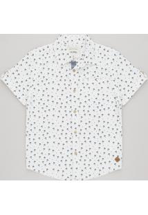 Camisa Infantil Estampada De Coqueiros Com Bolso Manga Curta Off White