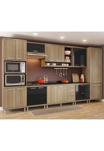 Cozinha Completa 9 Peças Sicília S16T Multimóveis Argila/Preto
