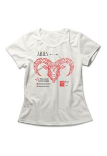 Camiseta Feminina Signo Áries Off-White
