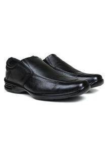 Sapato Social Masculino Couro Via Paula Conforto Liso Preto