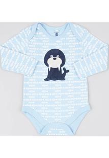Body Infantil Leão Marinho Estampado Peixes Manga Longa Azul Claro