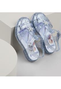 Sandália Infantil Baby Club Frozen Transparente Com Brilho Azul Claro