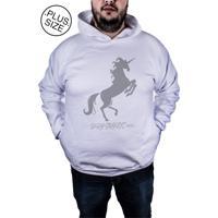 Blusa Outletdri Moletom Fechado Estampado Estampa Fire Unicorn Cinza 11435c556b800
