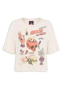 Camiseta Feminina Estampada - Bege