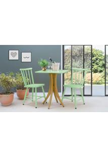 Mesa Bistrô Com 2 Cadeiras Quadrada Juliette - Amêndoa E Verde Sálvia