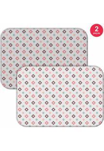 Jogo Americano Love Decor Quadrados Branco/Rosa - Kanui
