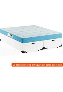 Cama Box Queen Premium Com Baú Corino Branco Com Colchão Sleep Max D45 Branco