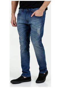 Calça Masculina Jeans Skinny Puídos Marisa